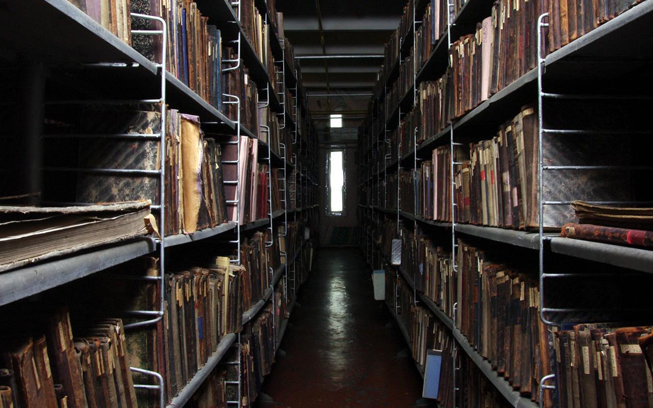 Книгосховище. Фрагмент книжкових полиць. Сучасний вигляд